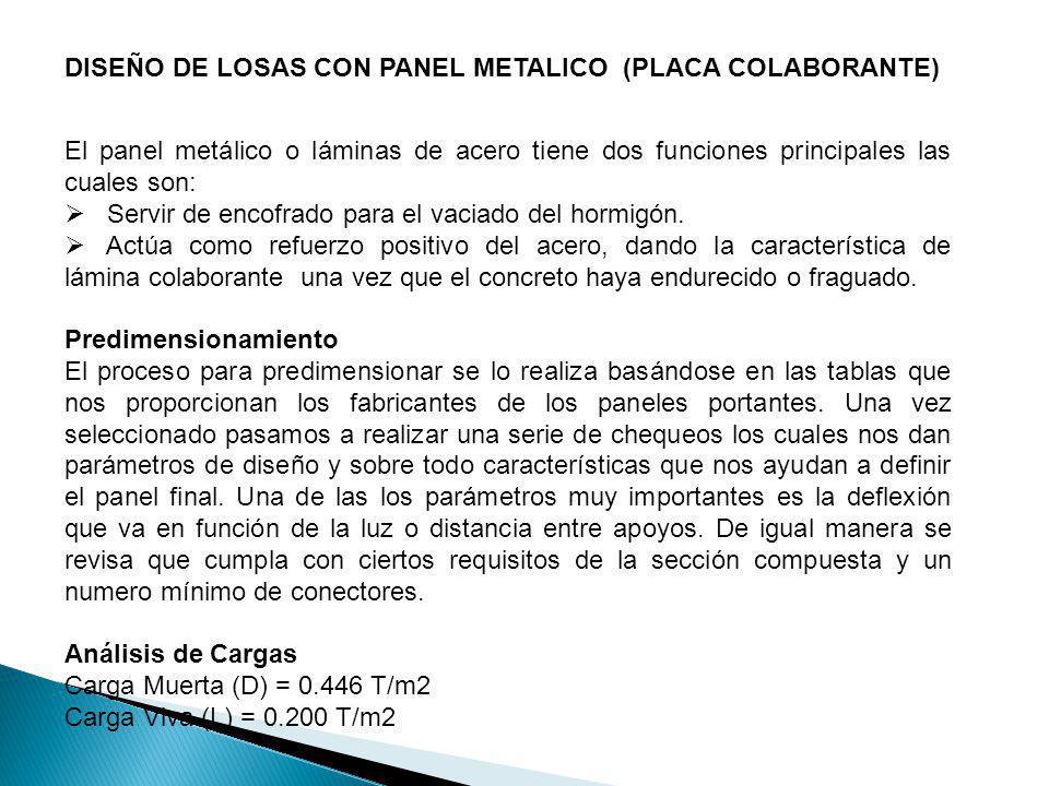 DISEÑO DE LOSAS CON PANEL METALICO (PLACA COLABORANTE) El panel metálico o láminas de acero tiene dos funciones principales las cuales son: Servir de