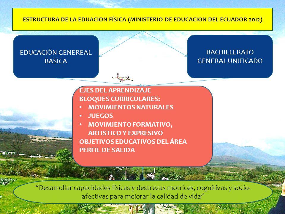 ESTRUCTURA DE LA EDUACION FÍSICA (MINISTERIO DE EDUCACION DEL ECUADOR 2012) EDUCACIÓN GENEREAL BASICA BACHILLERATO GENERAL UNIFICADO EJES DEL APRENDIZ