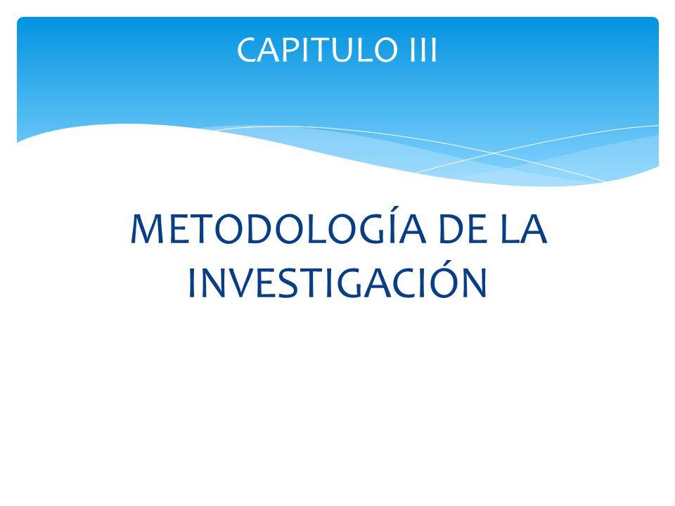 METODOLOGÍA DE LA INVESTIGACIÓN CAPITULO III
