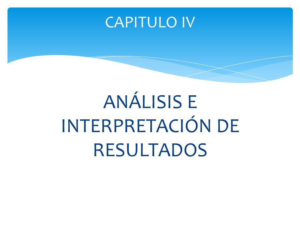 ANÁLISIS E INTERPRETACIÓN DE RESULTADOS CAPITULO IV