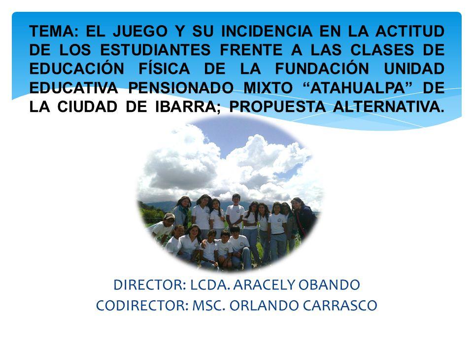 DIRECTOR: LCDA. ARACELY OBANDO CODIRECTOR: MSC. ORLANDO CARRASCO TEMA: EL JUEGO Y SU INCIDENCIA EN LA ACTITUD DE LOS ESTUDIANTES FRENTE A LAS CLASES D