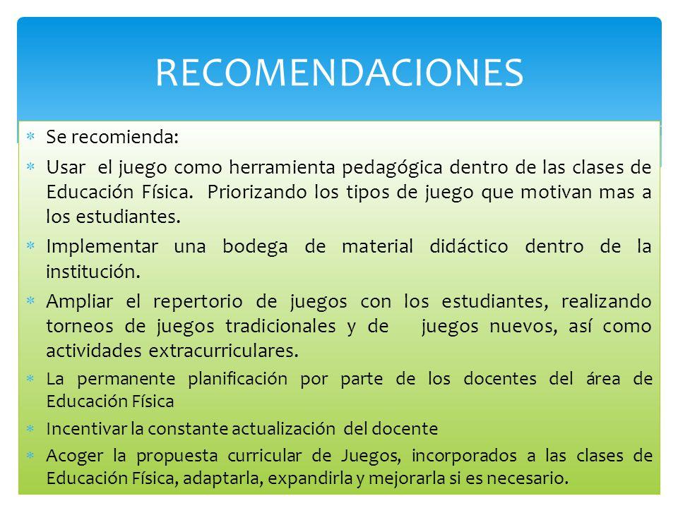 Se recomienda: Usar el juego como herramienta pedagógica dentro de las clases de Educación Física. Priorizando los tipos de juego que motivan mas a lo