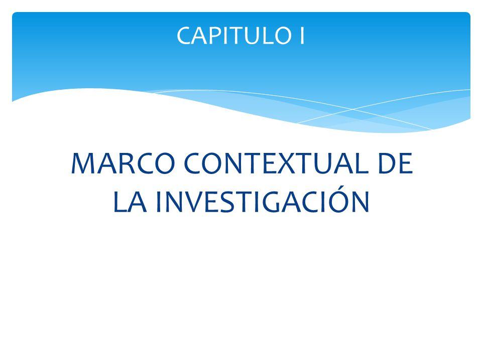 MARCO CONTEXTUAL DE LA INVESTIGACIÓN CAPITULO I