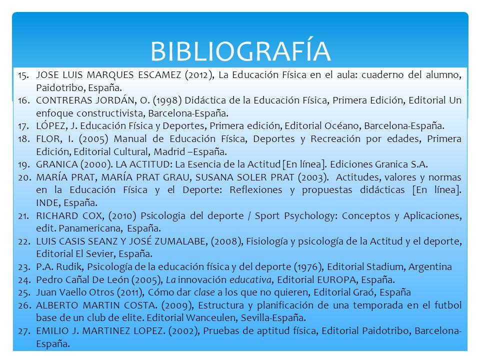 BIBLIOGRAFÍA 15.JOSE LUIS MARQUES ESCAMEZ (2012), La Educación Física en el aula: cuaderno del alumno, Paidotribo, España. 16.CONTRERAS JORDÁN, O. (19