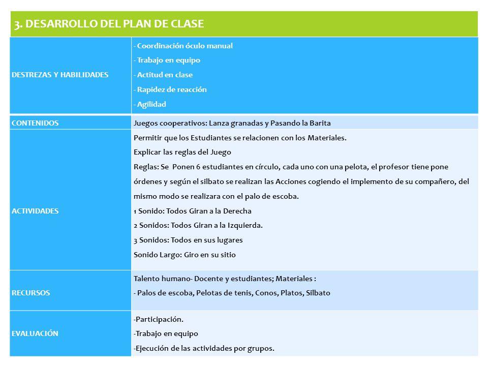 3. DESARROLLO DEL PLAN DE CLASE DESTREZAS Y HABILIDADES - Coordinación óculo manual - Trabajo en equipo - Actitud en clase - Rapidez de reacción - Agi