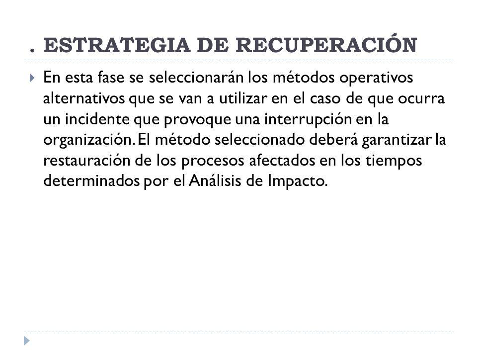 ESTRATEGIA DE RECUPERACIÓN En esta fase se seleccionarán los métodos operativos alternativos que se van a utilizar en el caso de que ocurra un incidente que provoque una interrupción en la organización.
