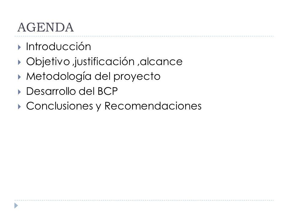 AGENDA Introducción Objetivo,justificación,alcance Metodología del proyecto Desarrollo del BCP Conclusiones y Recomendaciones