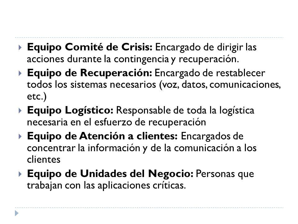 Equipo Comité de Crisis: Encargado de dirigir las acciones durante la contingencia y recuperación.