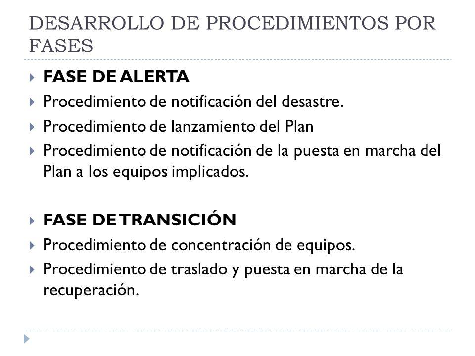 DESARROLLO DE PROCEDIMIENTOS POR FASES FASE DE ALERTA Procedimiento de notificación del desastre.
