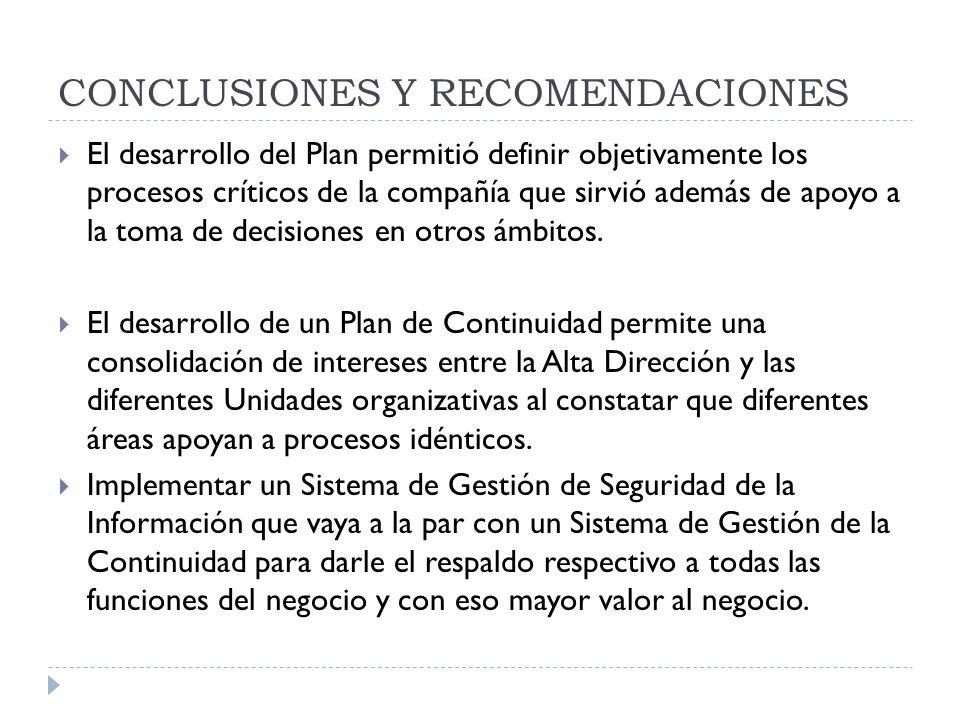 CONCLUSIONES Y RECOMENDACIONES El desarrollo del Plan permitió definir objetivamente los procesos críticos de la compañía que sirvió además de apoyo a la toma de decisiones en otros ámbitos.