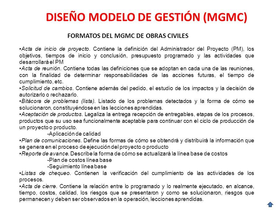 DISEÑO MODELO DE GESTIÓN (MGMC) FORMATOS DEL MGMC DE OBRAS CIVILES Acta de inicio de proyecto.