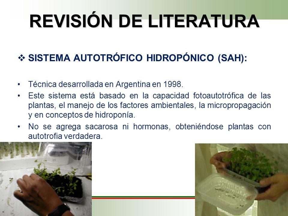 REVISIÓN DE LITERATURA SISTEMA AUTOTRÓFICO HIDROPÓNICO (SAH): Técnica desarrollada en Argentina en 1998.