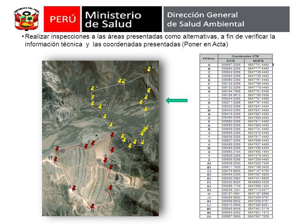 Realizar inspecciones a las áreas presentadas como alternativas, a fin de verificar la información técnica y las coordenadas presentadas (Poner en Act
