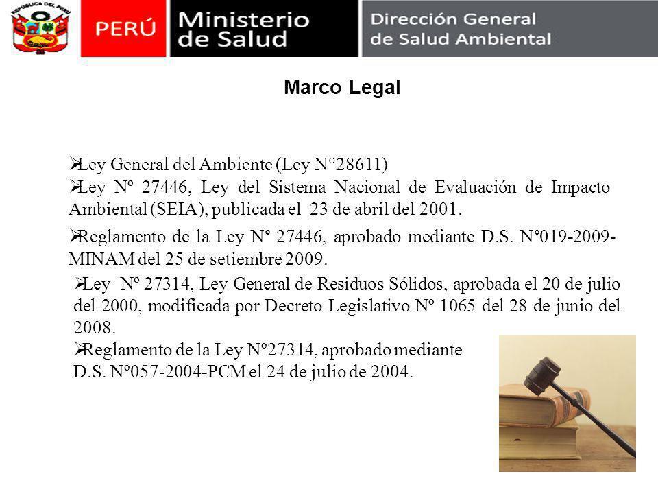 Reglamento de la Ley N° 27446, aprobado mediante D.S. N°019-2009- MINAM del 25 de setiembre 2009. Ley Nº 27314, Ley General de Residuos Sólidos, aprob