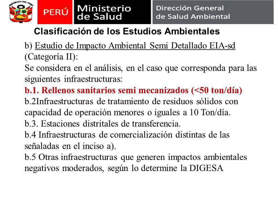 b) Estudio de Impacto Ambiental Semi Detallado EIA-sd (Categoría II): Se considera en el análisis, en el caso que corresponda para las siguientes infraestructuras: b.1.