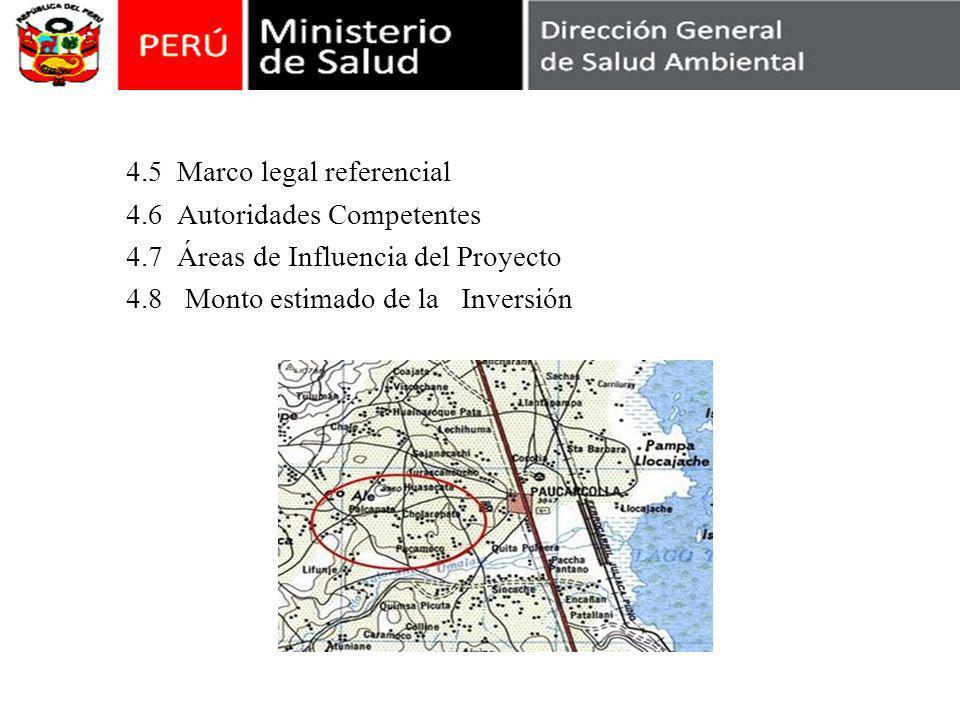 4.5 Marco legal referencial 4.6 Autoridades Competentes 4.7 Áreas de Influencia del Proyecto 4.8 Monto estimado de la Inversión