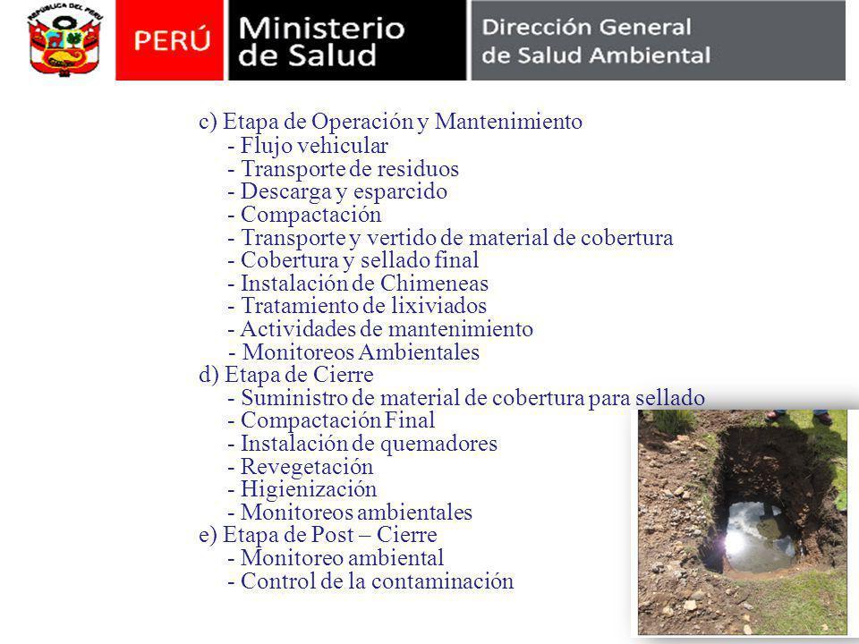 Contenido del Estudio de Impacto Ambiental c) Etapa de Operación y Mantenimiento - Flujo vehicular - Transporte de residuos - Descarga y esparcido - C