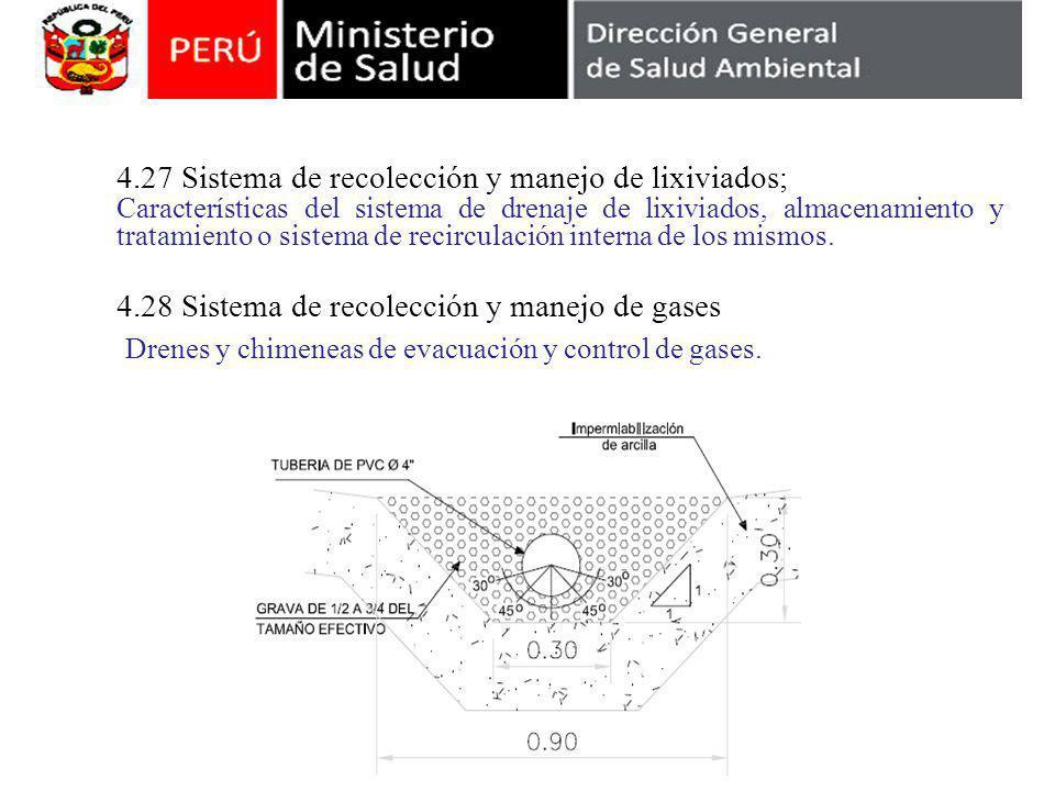4.27 Sistema de recolección y manejo de lixiviados; Características del sistema de drenaje de lixiviados, almacenamiento y tratamiento o sistema de re