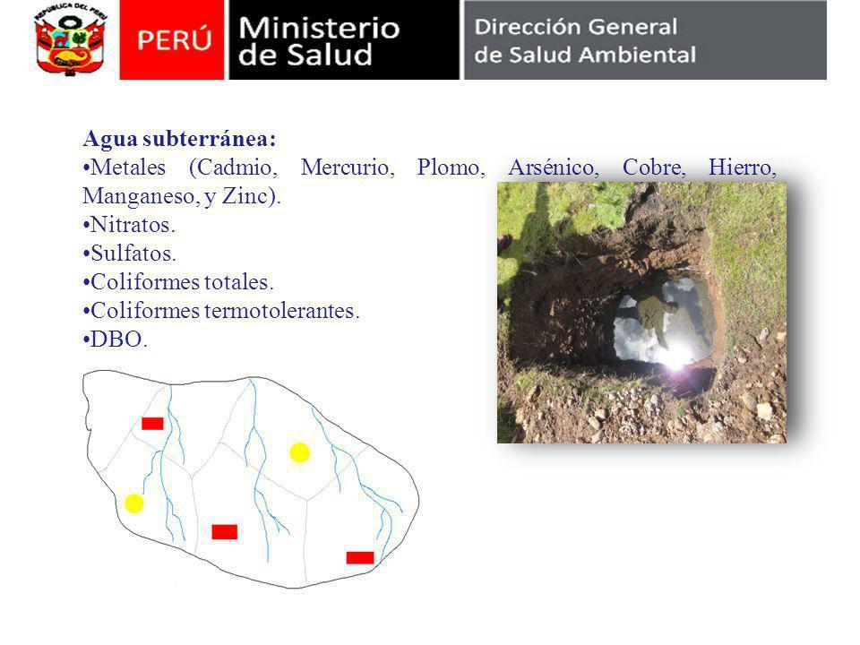 Agua subterránea: Metales (Cadmio, Mercurio, Plomo, Arsénico, Cobre, Hierro, Manganeso, y Zinc).