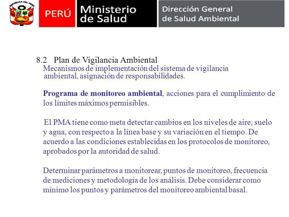 8.2 Plan de Vigilancia Ambiental Mecanismos de implementación del sistema de vigilancia ambiental, asignación de responsabilidades. Programa de monito