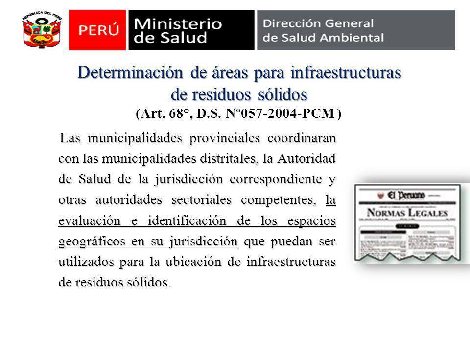 Determinación de áreas para infraestructuras de residuos sólidos Determinación de áreas para infraestructuras de residuos sólidos (Art. 68°, D.S. Nº05