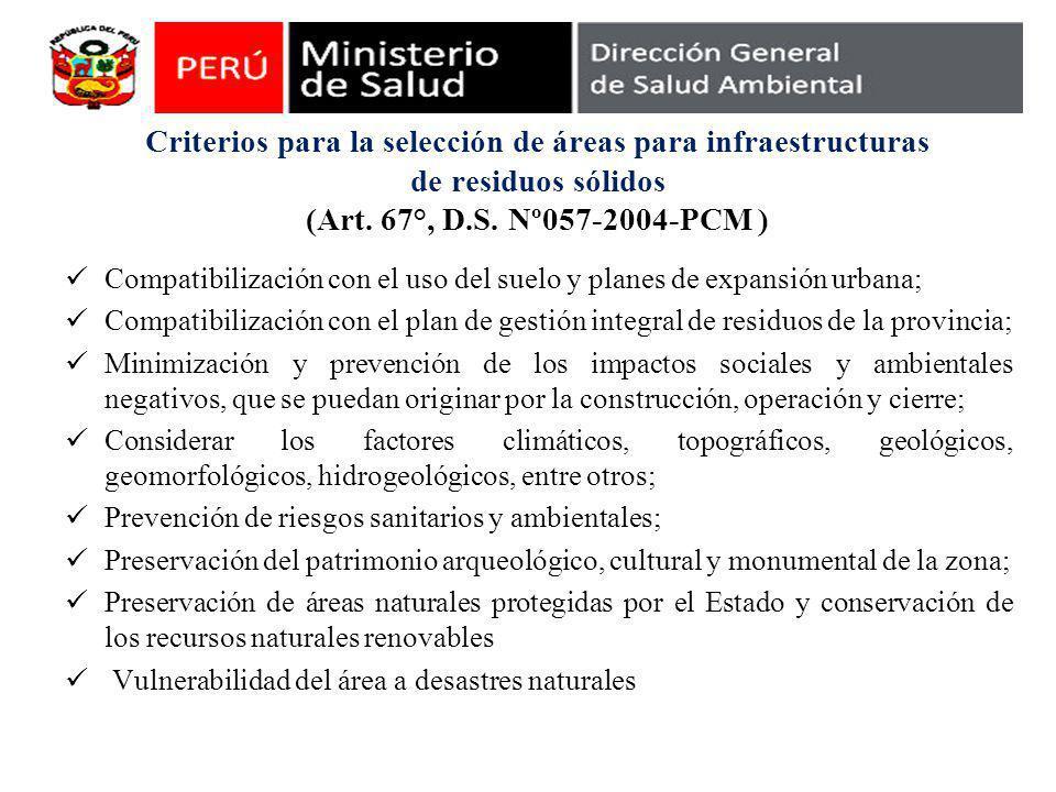 Criterios para la selección de áreas para infraestructuras de residuos sólidos (Art. 67°, D.S. Nº057-2004-PCM ) Compatibilización con el uso del suelo