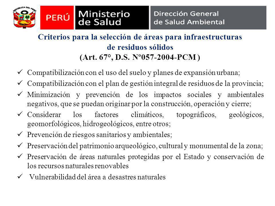 Criterios para la selección de áreas para infraestructuras de residuos sólidos (Art.