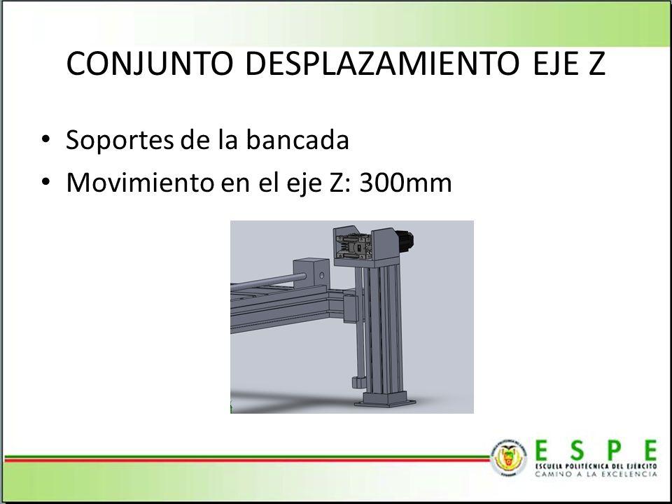 CONJUNTO DESPLAZAMIENTO EJE Z Soportes de la bancada Movimiento en el eje Z: 300mm