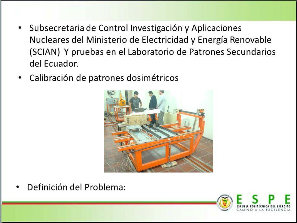 Subsecretaria de Control Investigación y Aplicaciones Nucleares del Ministerio de Electricidad y Energía Renovable (SCIAN) Y pruebas en el Laboratorio de Patrones Secundarios del Ecuador.