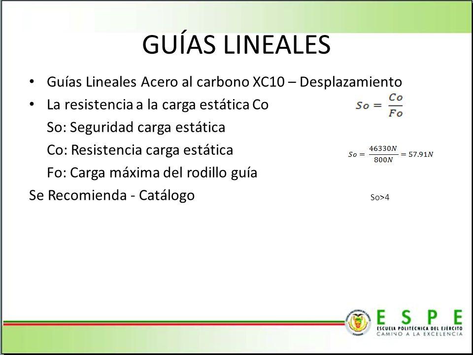 GUÍAS LINEALES Guías Lineales Acero al carbono XC10 – Desplazamiento La resistencia a la carga estática Co So: Seguridad carga estática Co: Resistenci