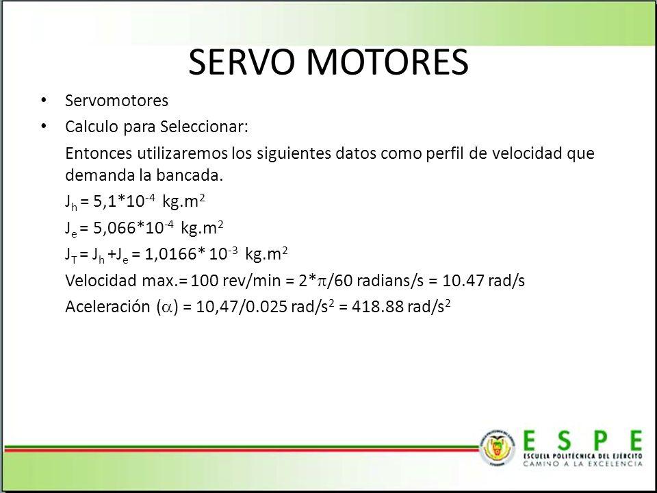 SERVO MOTORES Servomotores Calculo para Seleccionar: Entonces utilizaremos los siguientes datos como perfil de velocidad que demanda la bancada. J h =