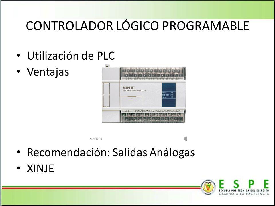 CONTROLADOR LÓGICO PROGRAMABLE Utilización de PLC Ventajas Recomendación: Salidas Análogas XINJE