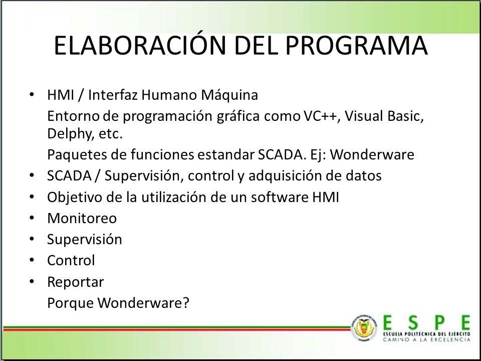 ELABORACIÓN DEL PROGRAMA HMI / Interfaz Humano Máquina Entorno de programación gráfica como VC++, Visual Basic, Delphy, etc.