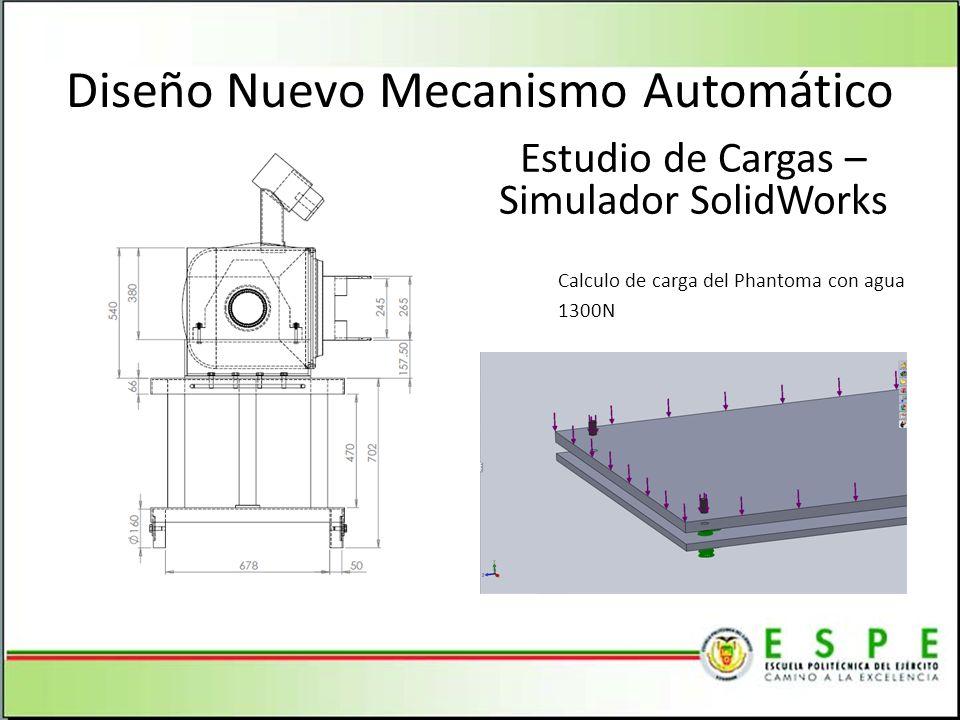 Diseño Nuevo Mecanismo Automático Estudio de Cargas – Simulador SolidWorks Calculo de carga del Phantoma con agua 1300N