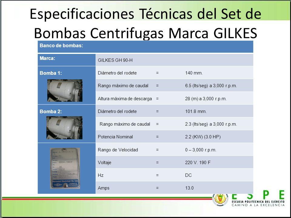 Especificaciones Técnicas del Set de Bombas Centrifugas Marca GILKES Banco de bombas: Marca: GILKES GH 90-H Bomba 1: Diámetro del rodete=140 mm. Rango