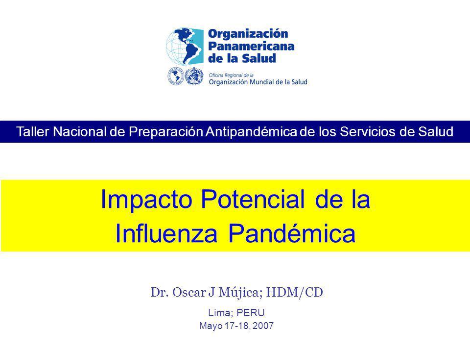 Taller Nacional de Preparación Antipandémica de los Servicios de Salud Dr. Oscar J Mújica; HDM/CD Lima; PERU Mayo 17-18, 2007 Impacto Potencial de la