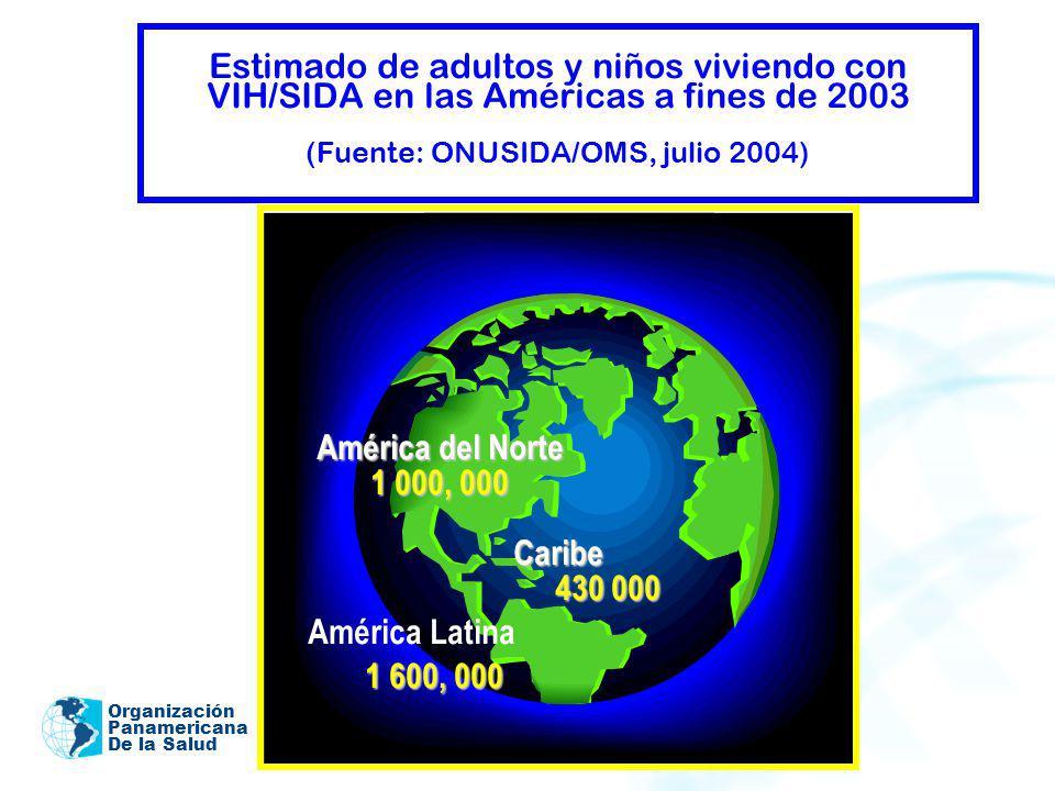 Organización Panamericana De la Salud Estimado de adultos y niños viviendo con VIH/SIDA en las Américas a fines de 2003 (Fuente: ONUSIDA/OMS, julio 20