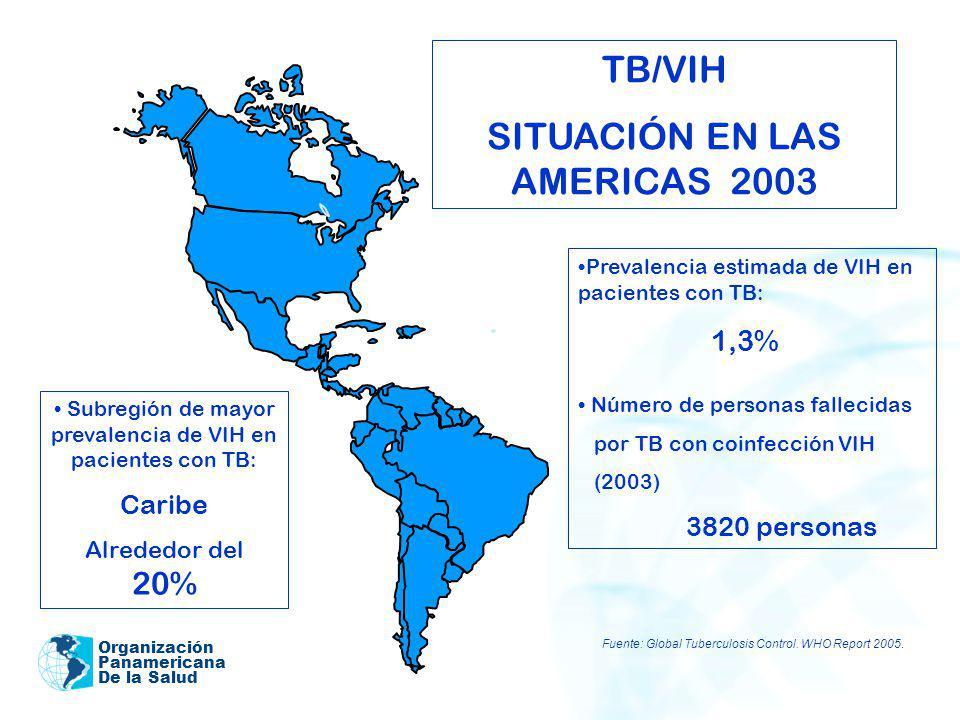 Organización Panamericana De la Salud TB/VIH SITUACIÓN EN LAS AMERICAS 2003 Prevalencia estimada de VIH en pacientes con TB: 1,3% Número de personas f