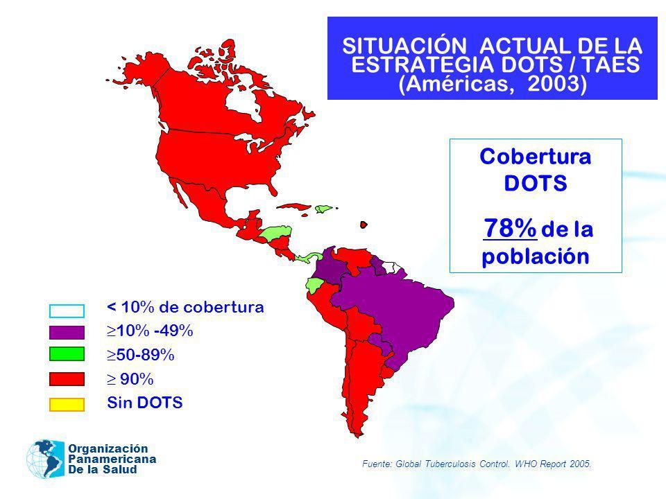 Organización Panamericana De la Salud SITUACIÓN ACTUAL DE LA ESTRATEGIA DOTS / TAES (Américas, 2003) < 10% de cobertura 10% -49% 50-89% 90% Sin DOTS C