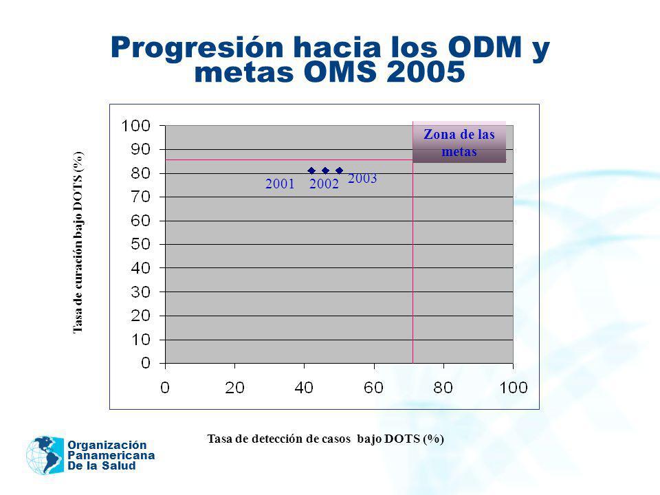 Organización Panamericana De la Salud Progresión hacia los ODM y metas OMS 2005 Tasa de detección de casos bajo DOTS (%) Tasa de curación bajo DOTS (%