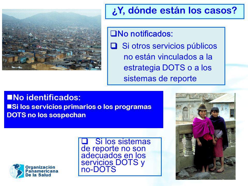 Organización Panamericana De la Salud ¿Y, dónde están los casos? No identificados: Si los servicios primarios o los programas DOTS no los sospechan No