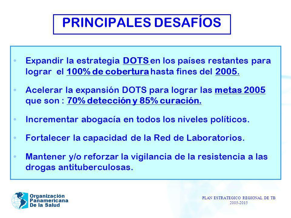 Organización Panamericana De la Salud PRINCIPALES DESAFÍOS Expandir la estrategia DOTS en los países restantes para lograr el 100% de cobertura hasta