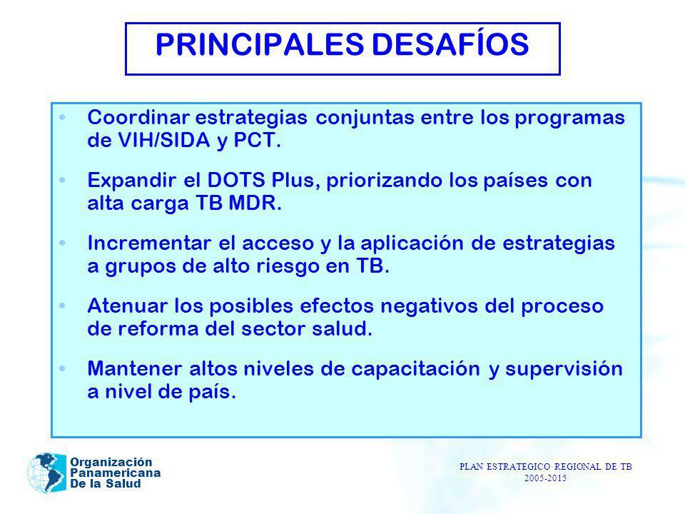 Organización Panamericana De la Salud PRINCIPALES DESAFÍOS Coordinar estrategias conjuntas entre los programas de VIH/SIDA y PCT. Expandir el DOTS Plu