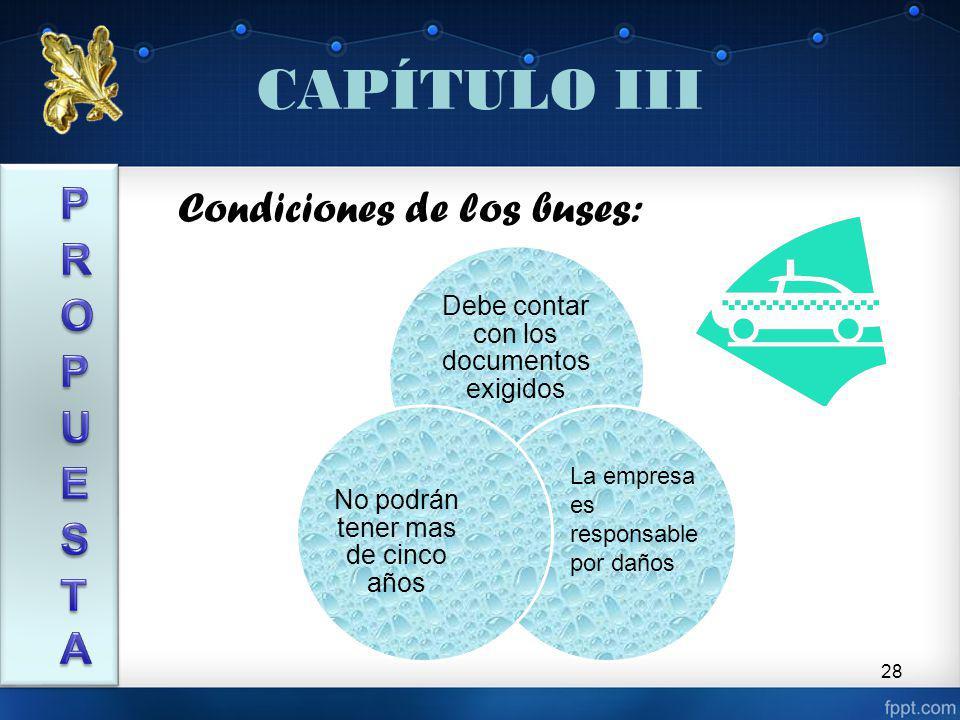 28 CAPÍTULO III Debe contar con los documentos exigidos No podrán tener mas de cinco años Condiciones de los buses: La empresa es responsable por daños