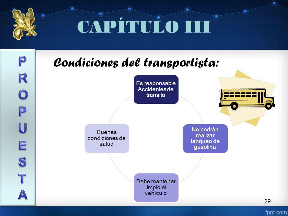 29 CAPÍTULO III Condiciones del transportista: Es responsable Accidentes de tránsito No podrán realizar tanqueo de gasolina Debe mantener limpio el vehículo Buenas condiciones de salud