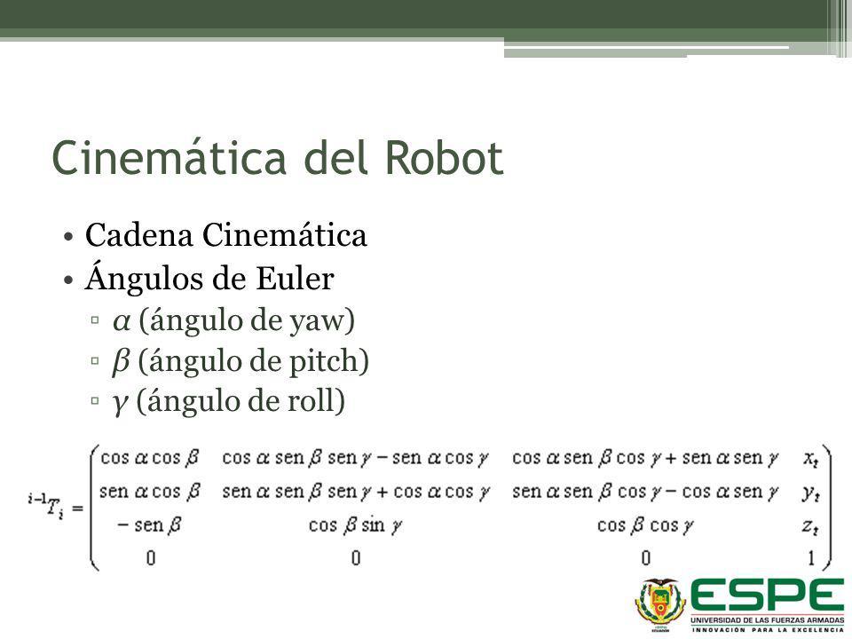 Cinemática del Robot Cadena Cinemática Ángulos de Euler α (ángulo de yaw) β (ángulo de pitch) γ (ángulo de roll)
