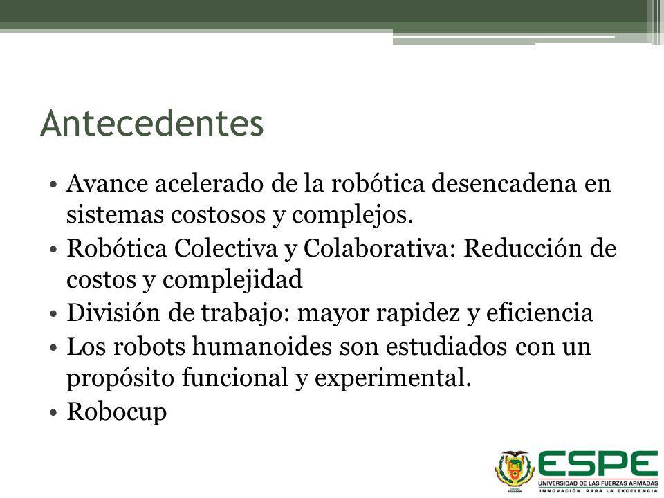 Antecedentes Avance acelerado de la robótica desencadena en sistemas costosos y complejos. Robótica Colectiva y Colaborativa: Reducción de costos y co