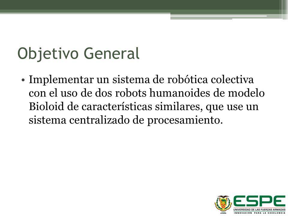 Objetivo General Implementar un sistema de robótica colectiva con el uso de dos robots humanoides de modelo Bioloid de características similares, que
