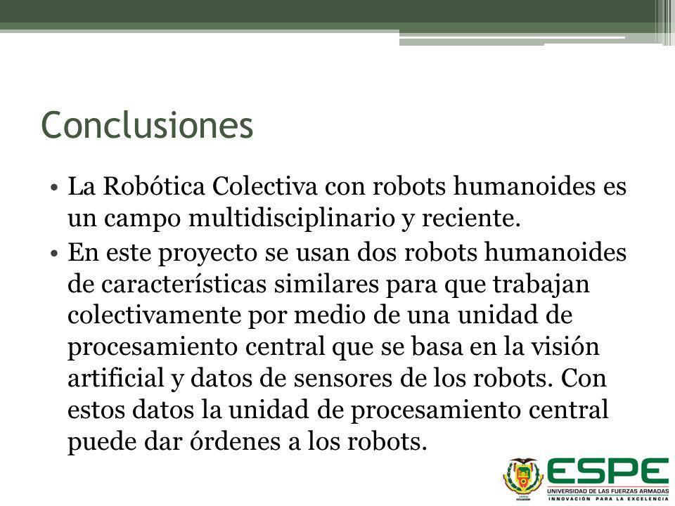 Conclusiones La Robótica Colectiva con robots humanoides es un campo multidisciplinario y reciente. En este proyecto se usan dos robots humanoides de