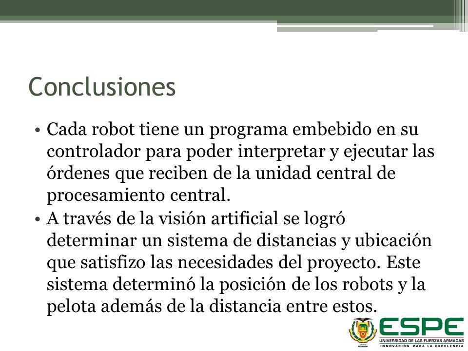 Conclusiones Cada robot tiene un programa embebido en su controlador para poder interpretar y ejecutar las órdenes que reciben de la unidad central de